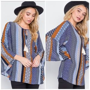 Carlie blue bell sleeve tunic top S, M, L NWT